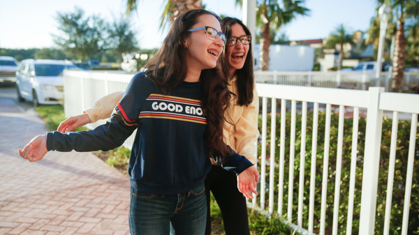Sisters Darianne, 16 and Yerianne Roldán, 17, moved from Puerto Rico to Orlando with their family for school.