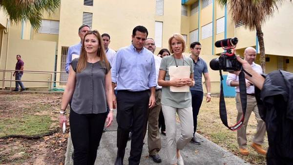 Education Secretary Betsy DeVos (right) toured public schools in Puerto Rico this week with San Juan Mayor Carmen Yulin Cruz (left) and Puerto Rico Gov. Ricardo Rosselló (second from left).